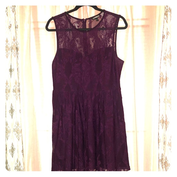 Express Dresses & Skirts - Sleeveless purple lace dress